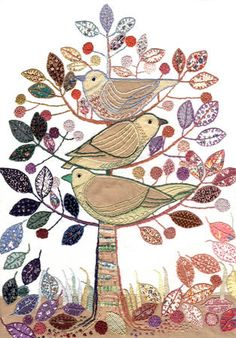 ♒ Enchanting Embroidery ♒ embroidered applique bird and tree of life