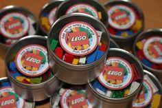 Lego themed party - favor tins with Lego ... | Wedding Favor Ideas