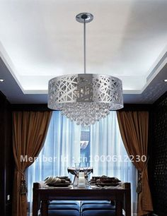 Free shipping, 2013 modern crystal chandelier, pendant lamp with stainless steel shade TPD002-6 Dia50 H48.5-124cm $429.00