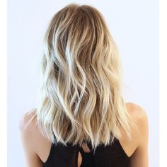 Beautiful Cool Blonde Highlights Cut Into Blunt Mid Length Style