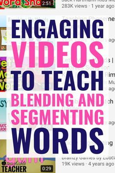 Learning segmenting and blending words is so important to new readers. These engaging videos are a fun activity to practice these important skills for preschool, kindergarten, first grade and even second grade classrooms! Kindergarten Reading, Teaching Reading, Guided Reading, Preschool Kindergarten, Phonics Reading, Close Reading, Reading Mastery, Phonics Books, Reading Help