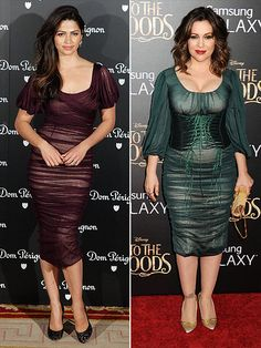 Fashion Faceoff | CAMILA VS. ALYSSA | Both celeb moms clearly both love ruching (as seen on their Dolce & Gabbana dress). But their similar taste stops at the corset. Camila drops the waist-cincher to show off her cranberry frock, while Alyssa embraces the accessory on her emerald green version.