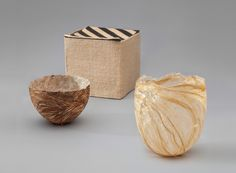 Box  1975 Kay Sekimachi (b. 1926) natural and dyed woven linen, five-layer weave and doubleweave pick-up L2013.2601.060  Bowl  c. 1993 Kay Sekimachi (b. 1926) brown hornet's nest paper laminated with handmade Japanese Kozo paper, formed from teak bowl produced by Bob Stocksdale L2013.2601.068.01  Bowl  c. 2009 Kay Sekimachi (b. 1926) undressed flax bonded with gel medium L2013.2601.055
