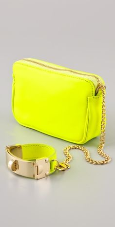 CC SKYE victoria wristlet clutch in neon yellow $275 #fashion #accessories #bag #clutch #wristles #cuff #chain #designer #neon #yellow #fluro #bright #leather #bracelet #gold #style #stylish #gift #chic #trend #summer #spring #party