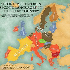 Map of the most spoken foreign languages in the EU by country Mental Map, Semitic Languages, European Map, Geography Map, European Languages, Tecno, Second Language, Foreign Language, World View