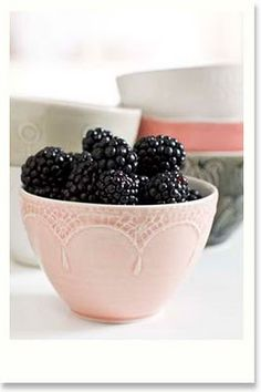 blackberries in a pretty pink latte bowl...quite a contrast
