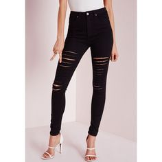 Sinner High Waisted Thigh Ripped Skinny Jeans Black ❤ liked on Polyvore featuring jeans, ripped jeans, destructed skinny jeans, high waisted ripped skinny jeans, high waisted ripped jeans and high waisted distressed skinny jeans