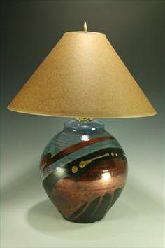 Raku -right here in Bend. Ceramic Light, Raku Pottery, Handmade Lamps, Blue And Copper, Bedroom Lamps, Lamp Bases, Surface Design, Lighting Design, Stoneware