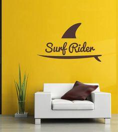 ik2559 Wall Decal Sticker surfer surf board shark racer living sports shop