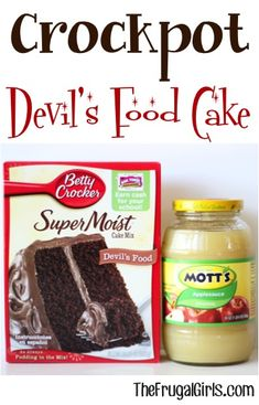 Who says dessert needs to be complicated? Go grab your Crockpot. it& time for some Crockpot Devils Food Cake! Bring on the chocolate, yum! Crock Pot Food, Crock Pot Desserts, Slow Cooker Desserts, Crockpot Dishes, Crock Pot Slow Cooker, Slow Cooker Recipes, Cooking Recipes, Slow Cooking, Dump Recipes