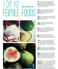 Top 10 Fertile Foods: eggs, avocados, figs, green tea, maca, beans, nuts, coconut cream, olives