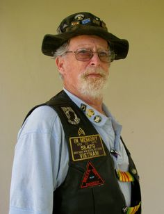Herb Mc Cool, 66, in his Vietnam vest. He served three tours in Vietnam from '67 thru '69. (Photo by Don Moore.)