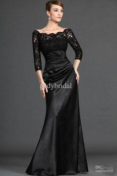 Black Elastic Satin Scoop Lace Full Length 3/4Long Sleeves Evening Dress Formal Wear