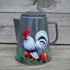Gray White Splatterware Enamel Coffee Pot HP Rooster Apple Handpainted T McMurry   eBay
