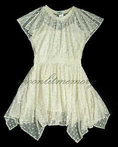 LeifNotes by Anthropologie ethereal cream mesh dress. Tonal polka dot embroidery highlighted with all over shimmering gold sequins. Gathered neckline, short slit sleeves, blouson batwing bodice, elastic waist, and full floating skirt with a pointed fairy hem. Size M-L offered by moonlitmemory on ebay.