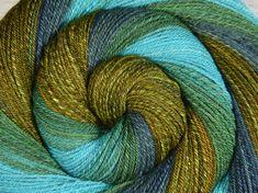 Handspun Yarn, Fine Sport Weight - Jewel of the Nile - Merino/Alpaca/Mulberry Silk, 342 yds, Navajo plied yarn, weft yarn, gift for knitter by BlackSheepGoods on Etsy