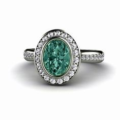 Blue Green Sapphire Engagement Ring Bezel Halo by RareEarth, $2,789.00