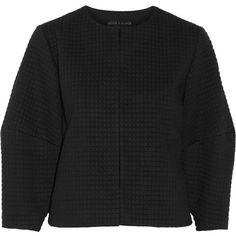 Alice + Olivia Dani cropped jacquard jacket (665 BRL) ❤ liked on Polyvore featuring outerwear, jackets, black, cropped jacket, jacquard jacket and alice olivia jacket