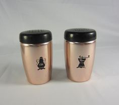 Rare Salt And Pepper Shakers | Vintage Salt and Pepper shakers - copper color aluminum with black lid ...