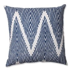Accent your living room in a beautiful way by depending on this soft throw pillow. The cotton material feels great against the skin, and it's durable too. This pretty accessory features a dark blue contemporary pattern against an ivory background.