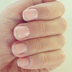 Glitter tips on pink