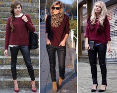 ZARA is the new black: Cómo combinar un jersey color burdeos