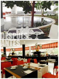 Nuestro restaurante Colón, en el que se sirven desayunos buffet, ahora está abierto al exterior junto a los estanques.