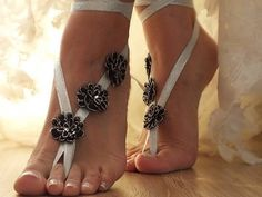 Black sandals and silver barefoot beach wedding, elegant lace sandals
