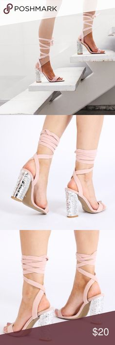 "Silver heeled blush pink heels Worn once in great condition! Heel Height: 4"" Shoe Height: 7"" Fabric Composition: Synthetic, Manmade Faux Suede public desire Shoes Heels"