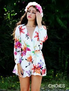 2015 Charming Flower Print Long Sleeve Mini Rompers for Woman | Choies