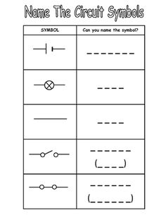 Symbols for circuit components (1) - Natural Science Worksheet ...