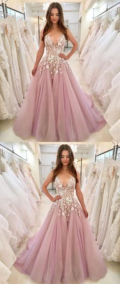 Newest V-Neck Appliques Sleeveless Pink Long Tulle Prom Dresses f6fef67c8086