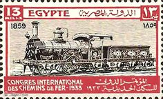 A 13-Mills Stamp Shows The First Engine Works In Egypt In 1859