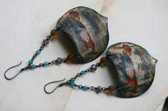 Endangered Species Serie  Pavone Earrings  Vintage Tin by Tribalis, $53.00