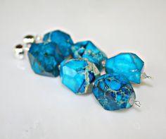 Chunky Nugget Ocean Blue Imperial Jasper Long Dangle Sterling Earrings by Mei Faith, via Etsy.