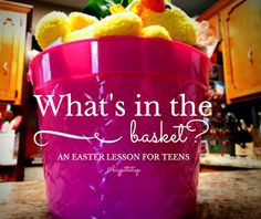 What in my basket: Easter Lesson for teens.  Using the stories of Holy Week, fill a basket with Dollar Store items that represent each story. Let each student take an item and see if they can guess and help you tell the story.  A great way to make sure they have all the details right.  Sometimes teens are too old for crafts but still need the object lessons to remember.