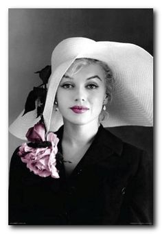 Marilyn Monroe Hat With Pink Flower Poster, 24x36 Art Photo