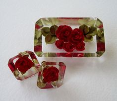 Vintage 50s Cottage Chic Mid Century Demi Parure Lucite Embedded Red Rose Flower Brooch Earrings Set by ThePaisleyUnicorn, $16.00