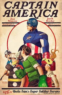 """Captain America - Granada, Spain-based artist Ruiz Burgos (a. """"OnlyMilo"""") has created an amazing series of illustrations featuring DC Comics heroes and villains in the style of Norman Rockwell's iconic covers from The Saturday Evening Post. Comic Book Characters, Comic Character, Comic Books Art, Comic Art, Comic Poster, Capitan America Marvel, Captain America Art, Arte Dc Comics, Bd Comics"""