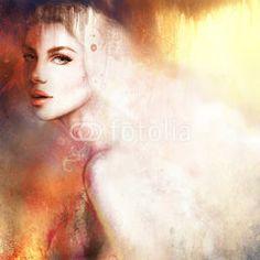 Beautiful woman portrait. Hand painted fashion illustration