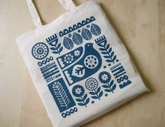 Hand Screen Printed, Scandinavian  Tote Bag