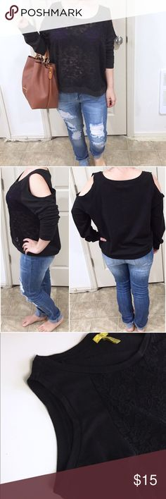 Finesse Black Cold Shoulder Top For Sale cute 3XL black top with cold shoulder. Gently worn. finesse Tops Tees - Long Sleeve