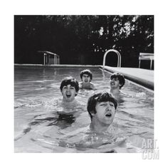 Paul McCartney, George Harrison, John Lennon and Ringo Starr Taking a Dip in a Swimming Pool Photo premium