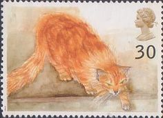 Choe (ginger cat) from Cats (1995) | British postage stamp 1995 | art by Elizabeth Blackadder