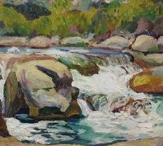 Rocky Stream | From a unique collection of landscape paintings at https://www.1stdibs.com/art/paintings/landscape-paintings/