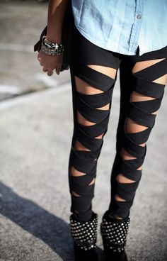 Omg, bandage leggings are so cute. I want these so badly!! I am definitely going to be making them tomorrow!!