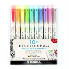 Zebra Pen Mildliner Double Ended Brush and Fine Tip Pen, Assorted Colors, Bullet Journal Notebook, Bullet Journal Ideas Pages, Bullet Journal Inspiration, Bullet Journal Markers, Brush Markers, Brush Pen, Bujo, Journaling, Bullet Journal Aesthetic