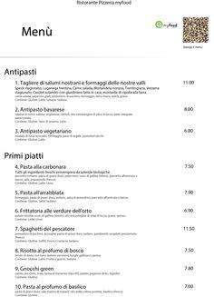 Nuova grafica per le stampe del tuo #menù #myfood.  Questo è il menù classico, bianco, con l'elenco dei tuoi piatti ricchi di informazioni: ingredienti, allergeni, descrizione, prezzo.  Scopri di più su http://myfood.okkam.it/  #myfoodOK #allergeni #ristorante