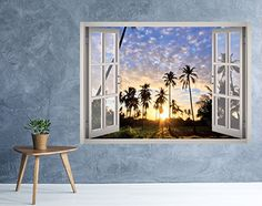 PURPLE SUNSET OVER RIVER 3D Window View Decal WALL STICKER Decor Mural Exotic