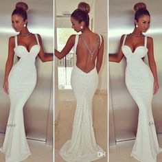 White Elegant Backless Mermaid Dress
